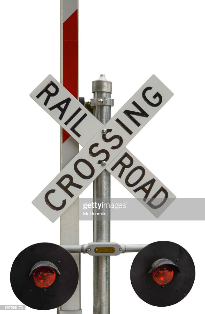 railroad crossing sign ストックフォト getty images