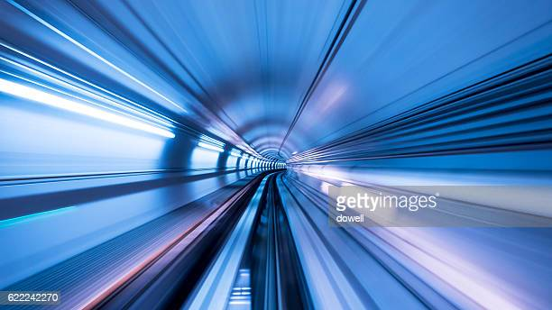 railroad in tunnel from high speed train
