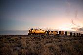 Railroad locomotive at dusk