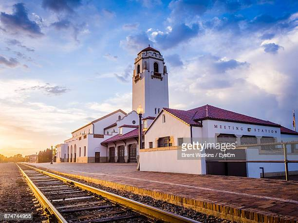 railroad station against sky in city - idaho stock pictures, royalty-free photos & images