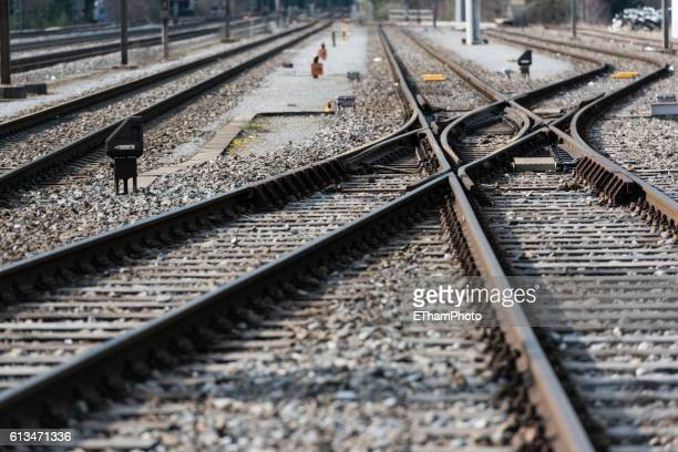 railroad switch / turnout - rail transportation stock pictures, royalty-free photos & images