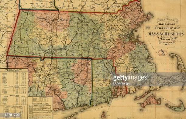 Railroad township map of Massachusetts 1879 Illustration by A Williams Co