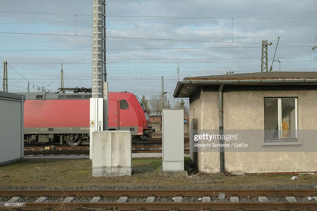 Railroad Track Against Cloudy Sky : Stock-Foto
