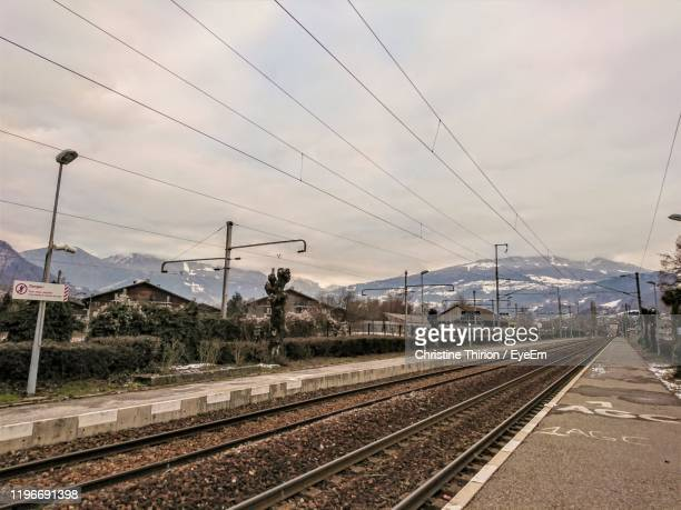 railroad track against sky - sallanches stock pictures, royalty-free photos & images