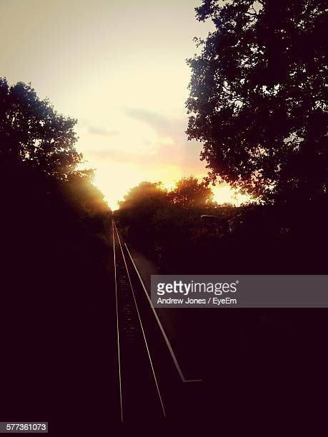 Railroad Track Amidst Silhouette Trees Against Sky During Sunset