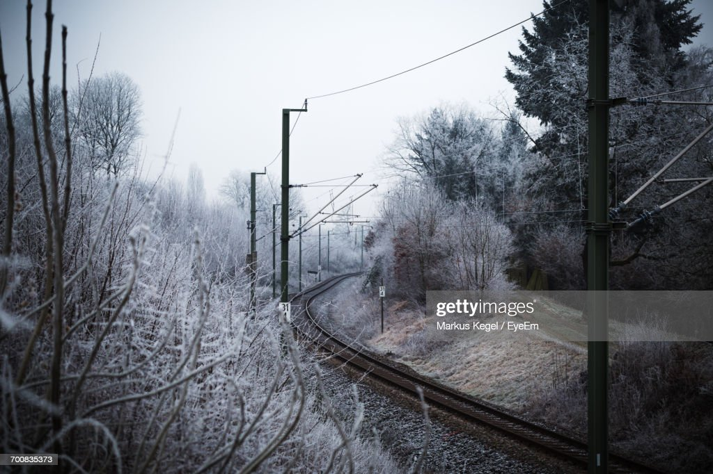 Railroad Track Amidst Trees Against Sky During Winter : Stock Photo