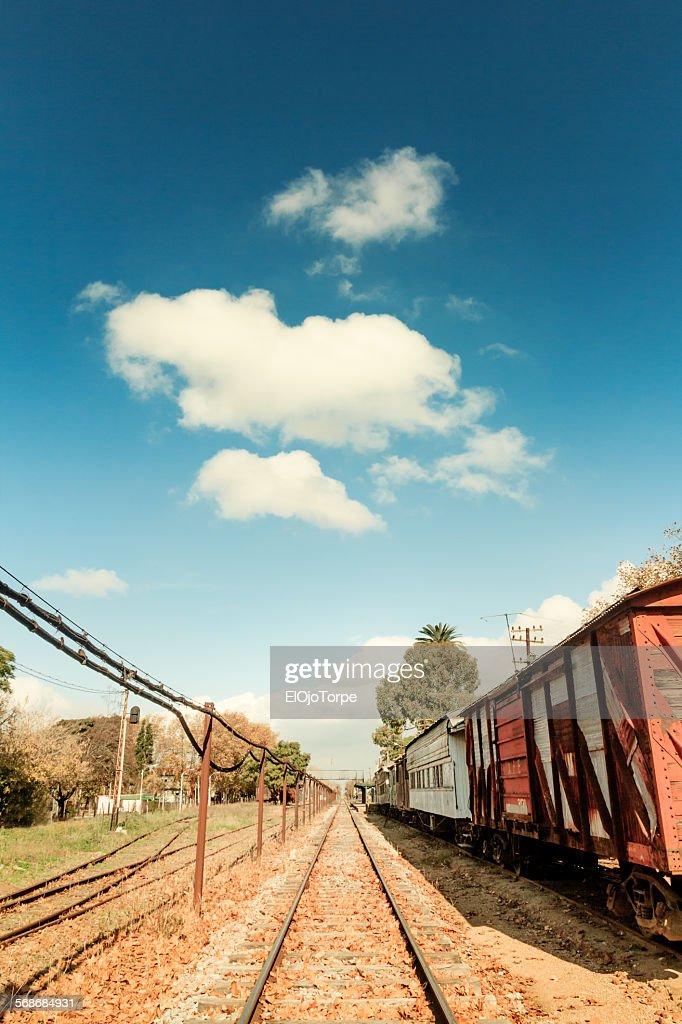 Railroad track, Colon Station, Montevideo, Uruguay : Stock Photo