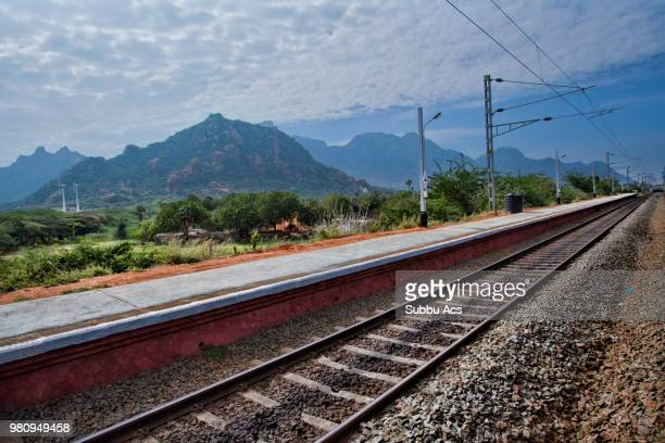 a railroad track in india. - images stock pictures, royalty-free photos & images