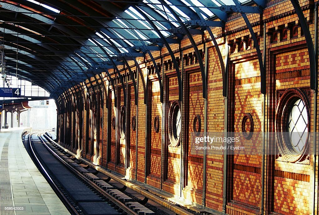 Railroad Track In Station : Stock Photo