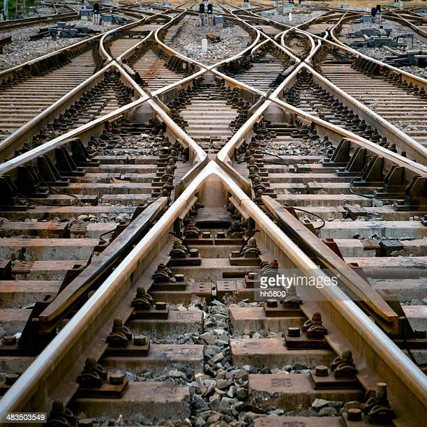 railroad track points - crossroad stock pictures, royalty-free photos & images