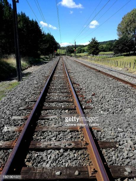 railroad tracks against sky - hamilton new zealand stock pictures, royalty-free photos & images
