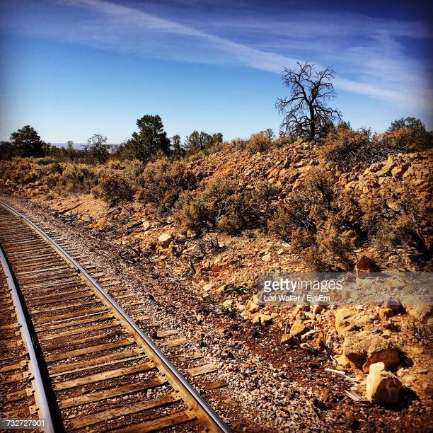 railroad tracks against sky - grand canyon village stock photos and pictures