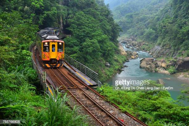 Railroad Tracks By River Amidst Trees In Forest