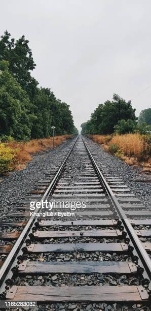 railroad tracks by trees against sky - parallel stock pictures, royalty-free photos & images