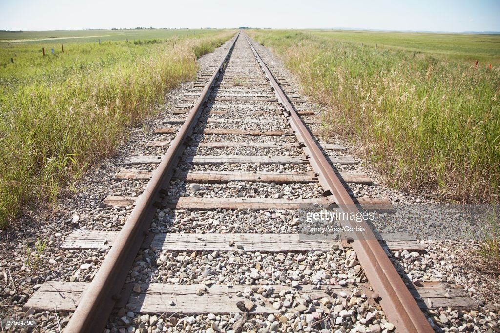 Railroad Tracks in Countryside : Stock Photo