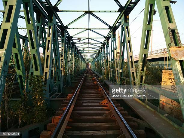Railroad Tracks On Bridge