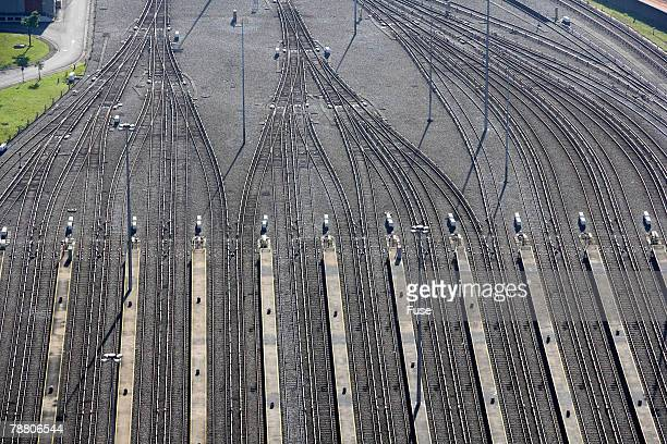railroad tracks - shunting yard stock photos and pictures