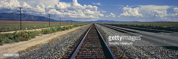 railroad tracks, power lines and landscape beyond. - timothy hearsum stock photos and pictures