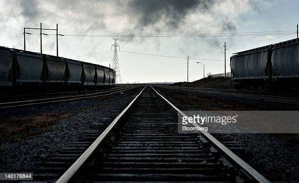 Railroad tracks stand outside of the Great River Energy Blue Flint Ethanol plant in Underwood North Dakota US on Thursday Feb 9 2012 North Dakota...