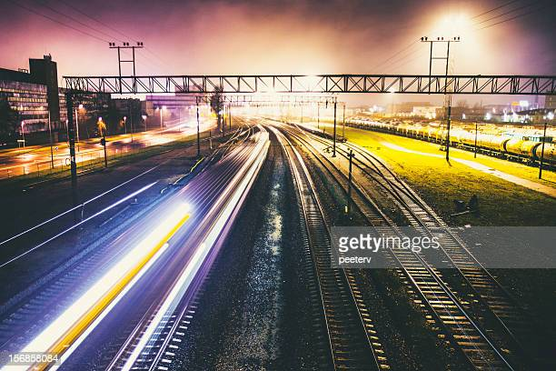 railroad traffic by night. - shunting yard stock photos and pictures