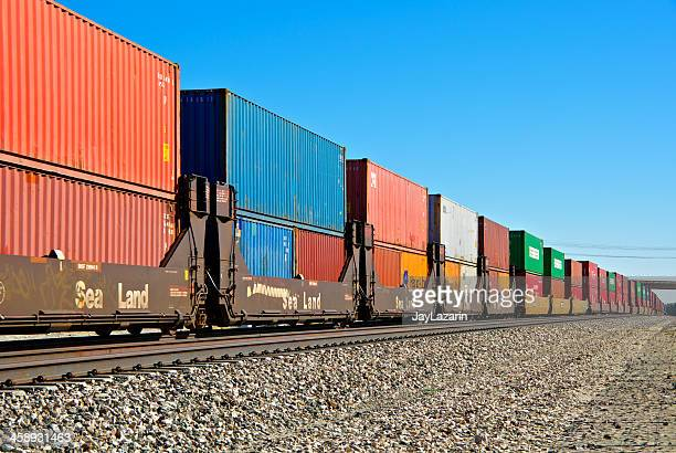 Railroad train freight container carriers, Palm Springs, California