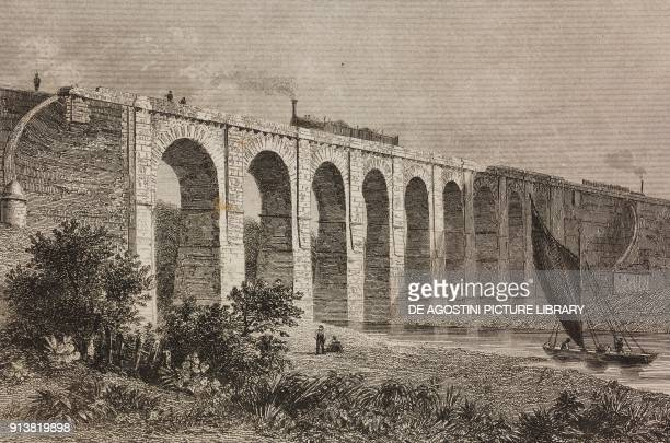 Railroad viaduct Sankey Valley England United Kingdom engraving by Lemaitre from Angleterre Ecosse et Irlande Volume IV by Leon Galibert and Clement...