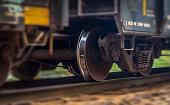 Railroad wheels in motion
