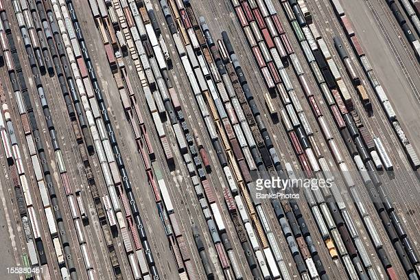 Railroad Yard with Cars Aerial