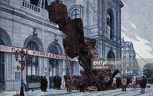 Railway accident at Gare Montparnasse Paris 22 October 1895 caused by a brake failure Train overran track and crashed over th façade of the station...