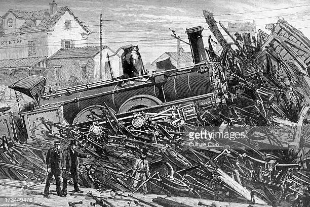 Railway accident on Lyon Railway at Charenton 6 September 1881 After sketch by M Gaildrau drawn two hours after the collision presenting the smashed...