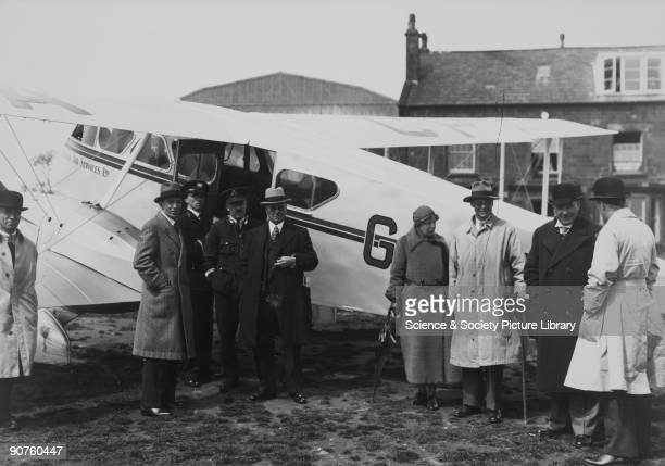 Railway Air Services aeroplane DH 84 Dragon II 6075 GACPX at Speke Airport Liverpool Ashton Davies chief commercial manager of London Midland...