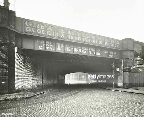 Railway bridge across Globe Road Bethnal Green London 1914 The north side of the railway bridge across the cobbled Globe Road with Great Eastern...