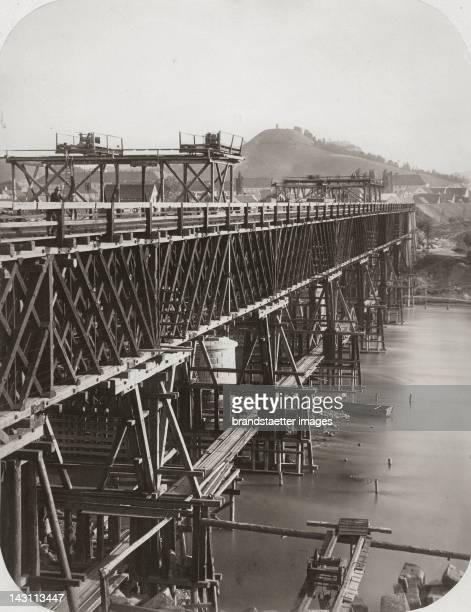 Railway Bridge at Marburg Under construction Southern Railway Photography around 1870