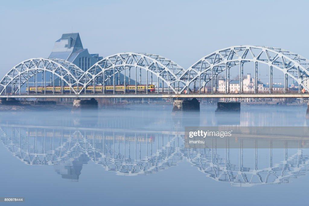 Railway bridge in Riga : Stock Photo