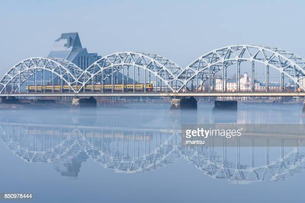 railway bridge in riga - latvia stock pictures, royalty-free photos & images