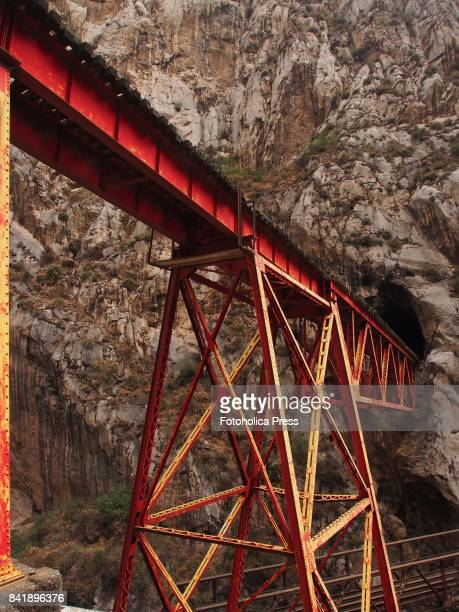 Railway bridge of the Peruvian central Andean railroad at the 'Infiernillo'