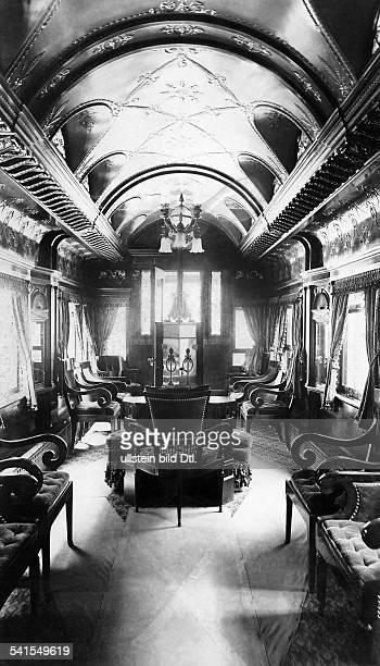 USA railway car of the Pullman Palace Car Company wash room in a private car library and smoking car Published by 'Berliner Illustrirte Zeitung'...