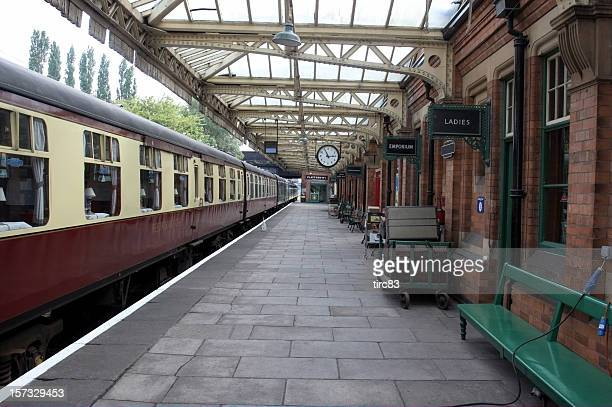 railway carriages at empty station - railroad station stock pictures, royalty-free photos & images