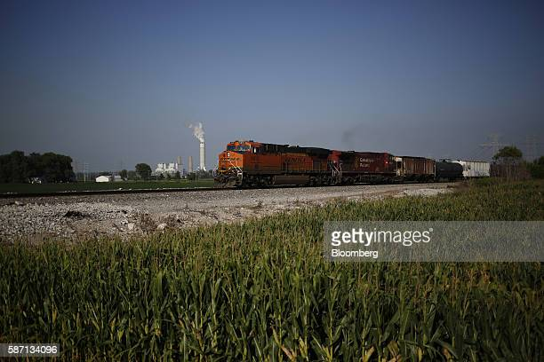 Railway Co freight train passes by the Ameren Corp Sioux Power Station power plant in West Alton Missouri US on Thursday Aug 4 2016 Ameren's fastest...
