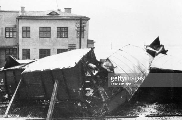 A railway crash in Ponetow Germanoccupied Poland circa 1942 A photo from an album documenting German atrocities in occupied Poland during World War...