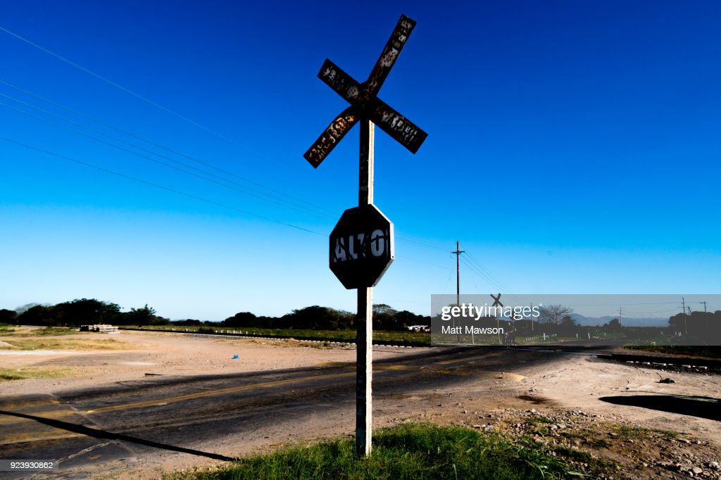 Railway crossing in the state of Sinaloa Mexico : Stock Photo