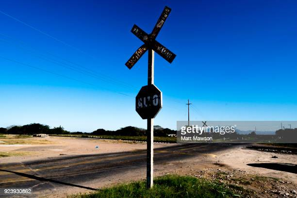 Railway crossing in the state of Sinaloa Mexico