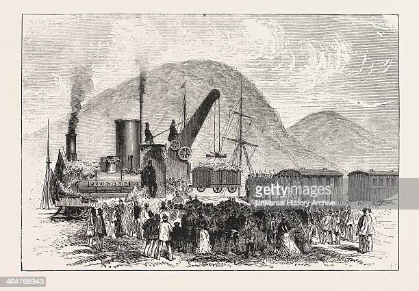 Railway Enterprise In New Zealand Hoisting The First Truck Of Coal On The Greymouth And Brunnerton Railway Engraving 1876