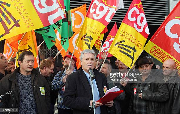 CGT Railway leader at the stateowned SNCF railway conpany Didier Le Reste speaks during a meeting with union members to discuss their protest against...