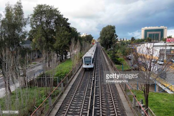 railway line operating in the city,izmir. - emreturanphoto stock pictures, royalty-free photos & images