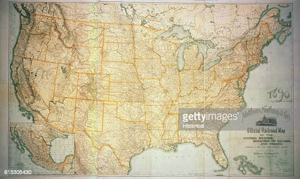 Railway lines crisscross the nation and continent in this railroad map of the US and its two neighbors