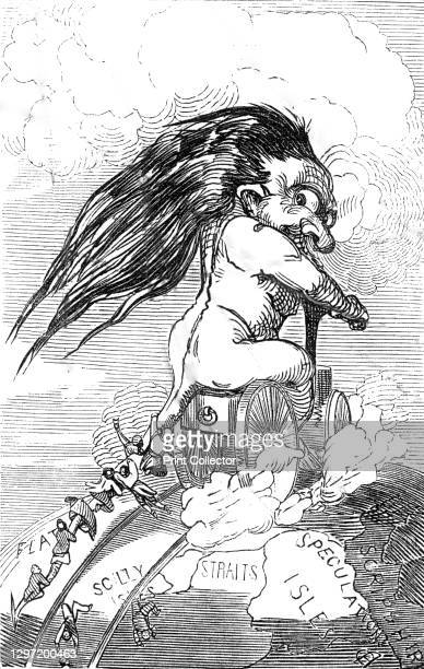 Railway Mania, 1845. Speculators hang on to the tail of a long-haired troll-like creature riding a steam locomotive, the personification of 'Railway...