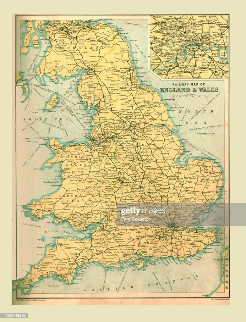 Map Of England Rail.Railway Map Of England And Wales 1902 With Inset Showing Stations