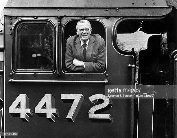Railway photographer Bishop Eric Treacy on the footplate of the preserved A3 Class 662 steam locomotive No 4472 'Flying Scotsman' c 1970s Treacy was...