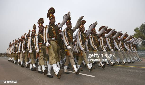 Railway Protection Force personnel during the rehearsals ahead of the Republic Day parade 2019 at Vijay Chowk on January 21 2019 in New Delhi India